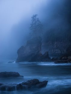 alpine-spirit: Rocky islands endure rough seas as they rise out of the mist Juan de Fuca Trail, Vancouver Island, BC, Canada  15 second exposure