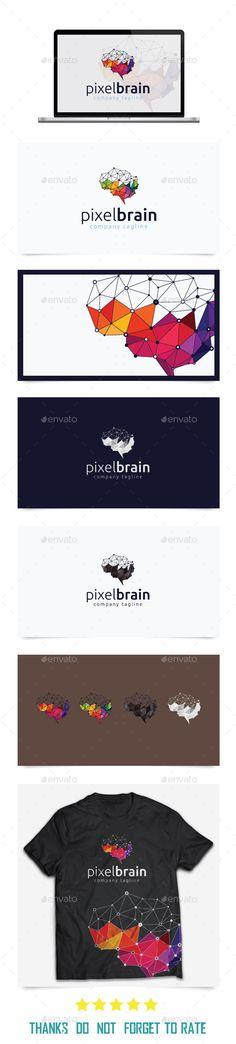 Pixel Brain Logo Template Vector EPS, AI Illustrator #design #logotype Download: http://graphicriver.net/item/pixel-brain-logo-templates/10439856?ref=ksioks