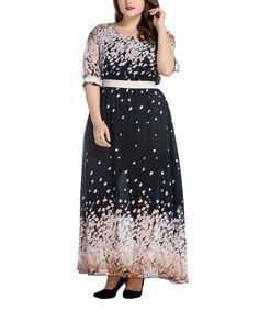 Black & Cream Floral Dress - Plus Too