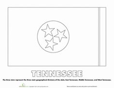 Tennessee State Flag To Color