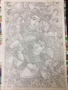 Krishna n radha kerala mural (by:Preetha Ramesh) Saree Painting, Kalamkari Painting, Kerala Mural Painting, Madhubani Painting, Eye Painting, African Art Paintings, Mural Wall Art, Murals, Mandala Artwork