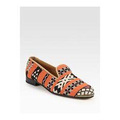 Cobra Society Najet Woven Leather-Trim Smoking Slippers - Orange