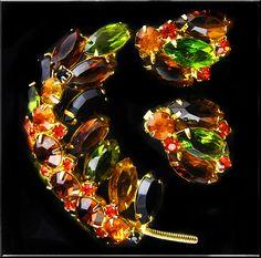 Designer  Autumn Vintage Pin and Earring Set