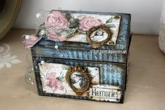 Wooden Box with decoupage on carton