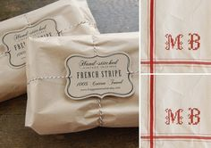 Set of 2 - RED - Personalized French Stripe Towels with hand-stitched initials. $35.00, via Etsy.