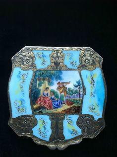 Antique European Silver Enamel BOX Powder Compact