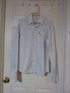 Mens Lg AMBERCROMBIE & FITCH Long sleeve button down shirt blue striped gray lgo #AbercrombieFitch #ButtonFrontmuscle