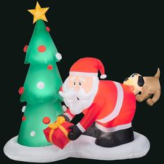 Add fun and festive feel to your home by choosing this Gemmy Inflatable Santa and Dog Scene. Outdoor Christmas Decorations, Holiday Decor, Outdoor Decor, Holiday Inflatables, Halloween News, Scene, Christmas Ornaments, Dog, Ornaments