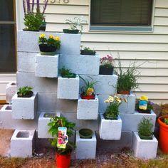 Cinder block garden step 2