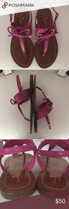 Kate Spade Carolina Pink Leather Bow Sandals Kate Spade Carolina Pink Leather Bow Sandals.   The color is deep pink vacchetta.   True to size. Adjustable buckles on the outside of the ankles.  Worn a few times but still in top condition and very clean! TINY MARK ON THE BOW OF THE RIGHT SHOE. SEE PICTURE 6.  Let me know if you have any questions! ✅ I LOVE OFFERS ✅ 💜INSTAGRAM: @ocaputostyle kate spade Shoes Sandals