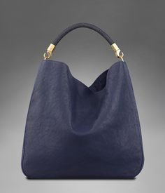 Large YSL Roady in Navy Blue Polished Leather with Stingray handle