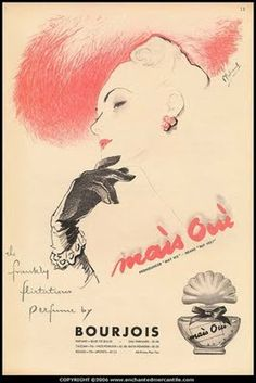 Bourjois - Mais Oui - The Frankly Flirtatious Perfume Vintage Labels, Vintage Ephemera, Vintage Cards, Vintage Images, Vintage Makeup, Vintage Beauty, Vintage Prints, Vintage Posters, Anuncio Perfume