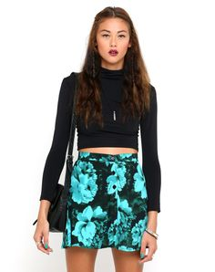 Motel Andrea ButtonThrough Mini Skirt in Tonal Floral Mint, TopShop, ASOS, House of Fraser, Nasty gal