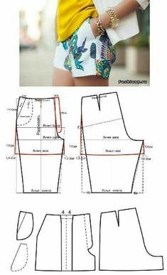 Sewing Shorts Pattern Costura 68 New Ideas Dress Sewing Patterns, Sewing Patterns Free, Free Sewing, Clothing Patterns, Pattern Sewing, Coat Patterns, Blouse Patterns, Free Knitting, Knitting Patterns