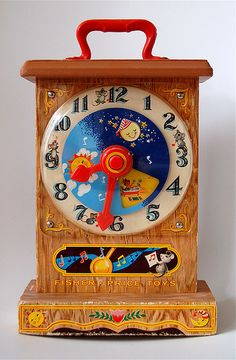 learned how to tell time on this clock.......  fisher-price tick-tock clock #997 (1967) by j_pidgeon, via Flickr