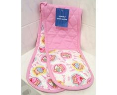 CUPCAKES DOUBLE oven gloves pink KITCHEN NEW