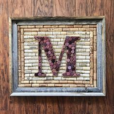 Custom wine cork monogram in Barnwood frame rustic home