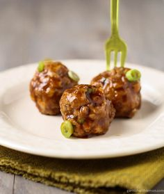 Saucy Asian Meatballs: an Asian spin on meatballs that can be used as an easy make-ahead appetizer.