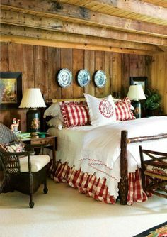 Rustic cabin bedroom at the lake house. Love the red decor. Decor, Blue Rooms, Home Bedroom, Cabin Decor, Cheap Home Decor, Home Decor, House Interior, Country Bedroom, Rustic House