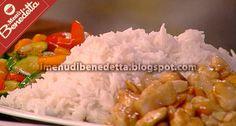 Pollo alle Mandorle con Riso e Verdure Caramellate