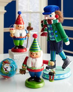 Carved wooden nutcrackers  #Christmas I LOVE these! I must NOT purchase one more nutcracker tho - or ANY other Christmas decoration!