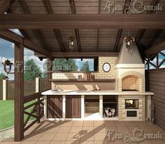 Cozy gazebo with barbecue. Household supplies- Cozy gazebo with barbecue. Patio Kitchen, Outdoor Oven, Outdoor Kitchen Design, Patio Design, House Design, Outdoor Barbeque, Patio Seating, Pergola Patio, Diy Patio