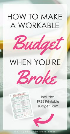 How to Make a Budget When You're Broke – Finance tips, saving money, budgeting planner Budgeting Worksheets, Budgeting Finances, Budgeting Tips, Making A Budget, Create A Budget, Making Ideas, Budget Help, Planning Budget, Budget Planner