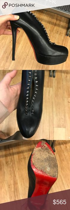 Auth Christian Louboutin MISS FAST PLATO SZ 39/9 Authentic Christian Louboutin miss fast Plato black leather boots Sz 39/9 . In good condition. Christian Louboutin Shoes Heeled Boots