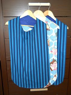 Sew With Aloha: Adult Bibs-- this will work great as a pattern for my son's patch display.