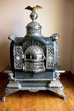 "Antique ""ESTATE TODD"" Wood/Coal PARLER CAST IRON HEATING STOVE USA Pat'd 1886"