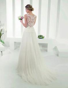 vestido de novia modelo Paola de Alma Novia   en guipour, tul y pedrería   colección 2015