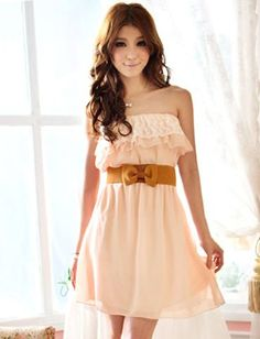 Nice Korean Style Pure Color Lace Trim Strapless Chiffon Dress For Women, Shop online for $9.80 Cheap Dresses code 694996 - E... Clothes Check more at http://fashionie.top/pin/35726/