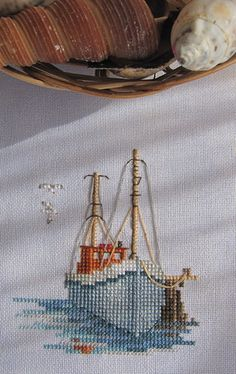 Hand Embroidery Designs, Beaded Embroidery, Cross Stitch Embroidery, Cross Stitch Sea, Simple Cross Stitch, Easy Cross Stitch Patterns, Cross Stitch Landscape, Chain Stitch, Fishing Boats