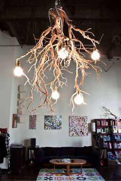 Tree branch chandelier ideas and crafts home decor wood lamps wooden lamp light fixture single Interior Design Your Home, Tree Interior, Apartment Interior, Luxury Interior, Modern Interior, Diy Interior, Wooden Lamp, Wooden Diy, Wooden Crafts