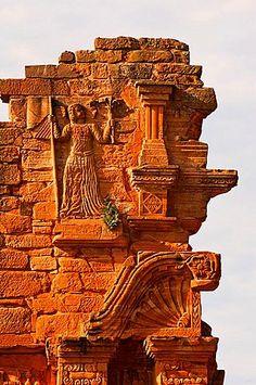 Ruinas de la reducción jesuítica de San Ignacio Mini, Detalle de la Iglesia puerta, Provincia de Misiones, Argentina, América del Sur, la Unesco Patrimonio de la Humanidad