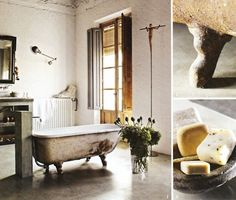 everybody says cement floors are too harsh and cold, but i think they are a wonderful compliment to industrial vintage.