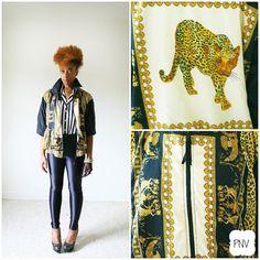 vintage 90s LEOPARD BAROQUE jacket size M L by PasseNouveauVintage, $23.00