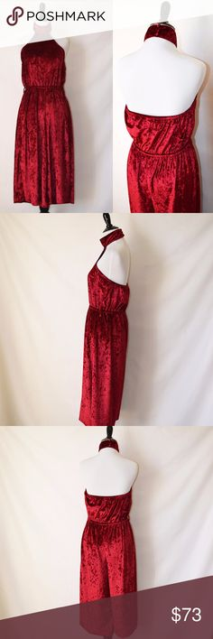 NWT ASOS Somedays Lovin Red Jumpsuit Velvet New with tag Somedays Lovin (ASOS, Pacsun, Revolve, Urban outfitters)  Have all eyes on you at your holiday party in the Allure Jumpsuit.  Color Ruby Size S Velvet 100% Polyester Hand Wash No care label Somedays Lovin Pants Jumpsuits & Rompers