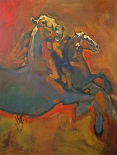 "Saatchi Art Artist: Peggy Judy; Acrylic 2013 Painting ""SOLD! Two Horses in Red"""