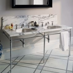 The Double Lowther Vanity Basin from Drummonds - Arabescato Marble www.drummonds-uk.com