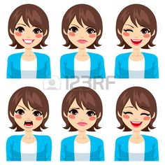 Attractive jeune femme brune sur six expressions faciales diff rentes d finir Banque d'images
