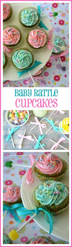Baby Shower Food For Boy Cupcakes Cup Cakes Super Ideas - Baby Shower Ideas - Kuchen Baby Reveal Cupcakes, Baby Rattle Cupcakes, Baby Shower Cupcakes For Boy, Cupcakes For Boys, Baby Boy Cakes, Baby Shower Desserts, Baby Shower Cookies, Fun Cupcakes, Baby Boy Shower
