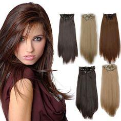 Vollen Kopf Clip in Extensions Frauen Lange Gerade Clip auf Haarverlängerung 8 Stücke Wärmebeständigkeit Gerade Haar Clip