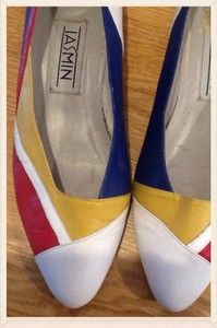 Vintage 1980s White & Colour Pattern Leather Wedge Size 6 UK