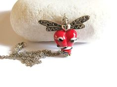Silver Plated Dragonfly Necklace Lampwork by GlassHouseLampwork, $25.00