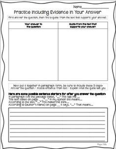 *practice with including evidence from the text to support their answers. New state testing (SBAC in my state) requires students to include evidence to support their answers. This teaches kids how to include evidence in their answers. Reading Strategies, Reading Skills, Reading Comprehension, Reading Response, Guided Reading, Reading Classes, Comprehension Strategies, Reading Intervention, Close Reading
