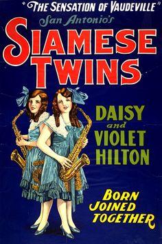 circus 1920s | San Antonio's Siamese Twins Circus Poster - 1920-1935
