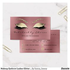 Makeup Eyebrow Lashes Glitter Diamond Rose Luxury Business Card