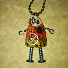 Steampunk Candy Corn Robot Necklace Polymer Clay  https://www.etsy.com/shop/Freeheart1