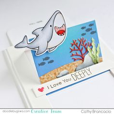 Doodlebugs: Love you Deeply - Friends with Fins Slider Cards, Pop Up, Interactive Cards, Distress Oxide Ink, Mft Stamps, Ocean Themes, Cards For Friends, Travel Themes, Copic Markers